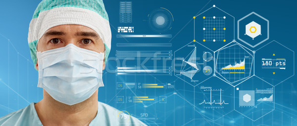 surgeon in surgical mask and hat over charts Stock photo © dolgachov
