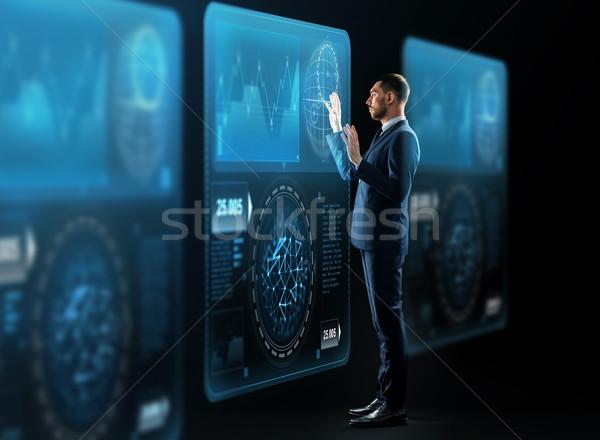 ビジネスマン バーチャル 投影 ビジネスの方々  技術 スーツ ストックフォト © dolgachov