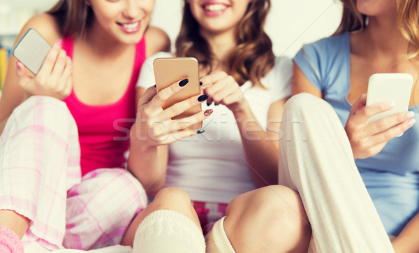 friends or teen girls with smartphones at home Stock photo © dolgachov