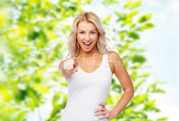 happy smiling young woman with blonde hair Stock photo © dolgachov