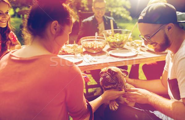 Gelukkig vrienden diner zomer tuinfeest recreatie Stockfoto © dolgachov