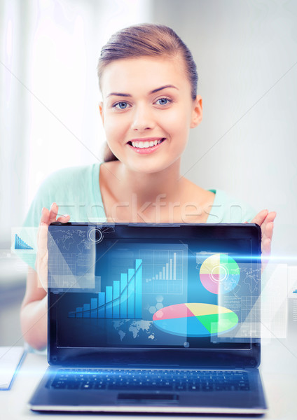 businesswoman showing laptop with graph Stock photo © dolgachov