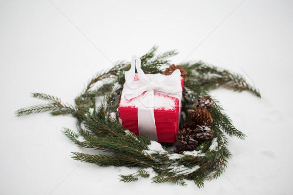 Weihnachten Geschenk Tanne Kranz Schnee Winter Stock foto © dolgachov
