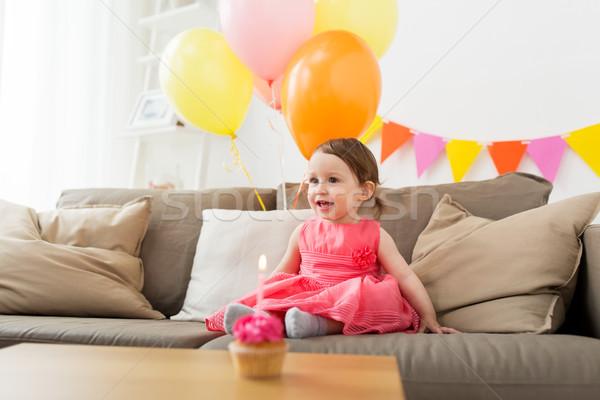 happy baby girl on birthday party at home Stock photo © dolgachov