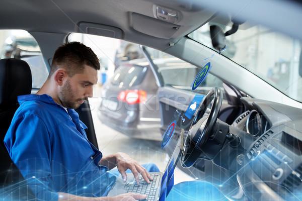 mechanic man with laptop making car diagnostic Stock photo © dolgachov