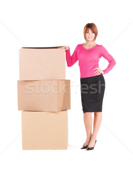 Stockfoto: Zakenvrouw · dozen · foto · witte · business · vrouw