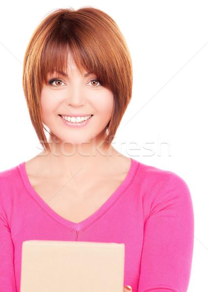Foto stock: Mujer · de · negocios · paquete · Foto · blanco · mujer · feliz
