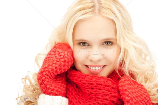 Gyönyörű nő ujjatlan kesztyűk fényes kép nő arc Stock fotó © dolgachov