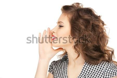 Kobieta plotka jasne zdjęcie młoda kobieta Zdjęcia stock © dolgachov