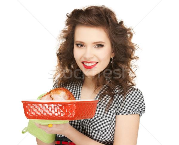Stock fotó: Háziasszony · hús · fényes · kép · nő · étel