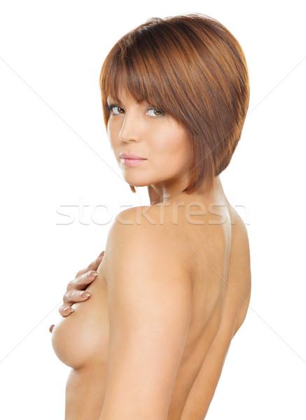 Hermosa top-less mujer brillante Foto pelo largo Foto stock © dolgachov