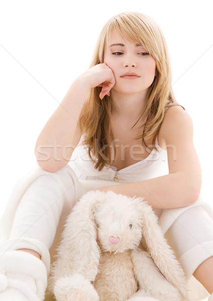 teenage girl with plush toy Stock photo © dolgachov