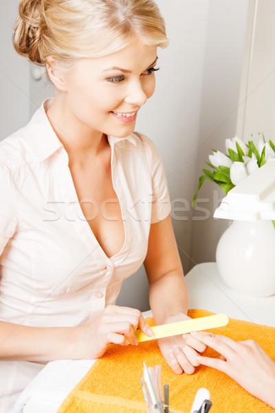 ストックフォト: 女性 · マニキュア · サロン · 魅力のある女性 · 幸せ · リラックス