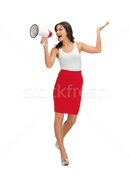 woman in blank white t-shirt with megaphone Stock photo © dolgachov