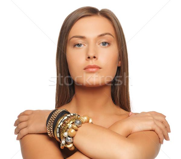 Mooie vrouw heldere foto meisje haren schoonheid Stockfoto © dolgachov
