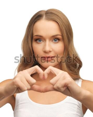 Kadın kalp şekli resim güzel bir kadın sevmek tıbbi Stok fotoğraf © dolgachov