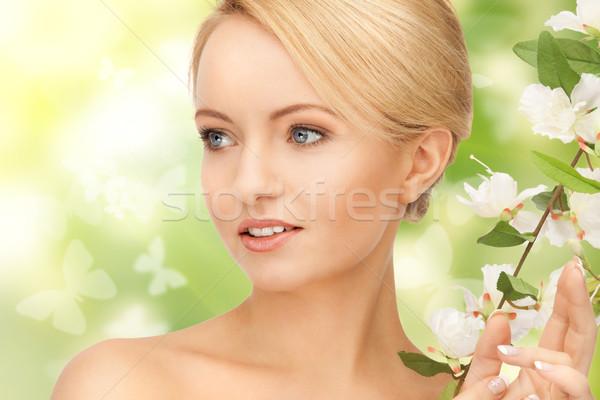 美人 花 小枝 画像 女性 皮膚 ストックフォト © dolgachov