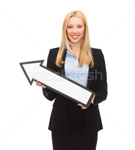 Gülen işkadını yön ok işareti resim iş Stok fotoğraf © dolgachov