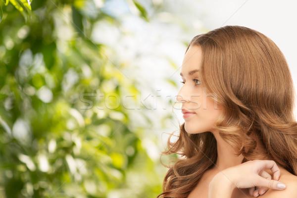 Belle femme cheveux longs beauté cheveux eco femme Photo stock © dolgachov