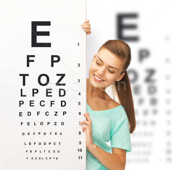Stock photo: woman in eyeglasses with eye chart