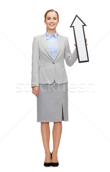 Mosolyog üzletasszony irányítás nyíl jelzés üzlet oktatás Stock fotó © dolgachov
