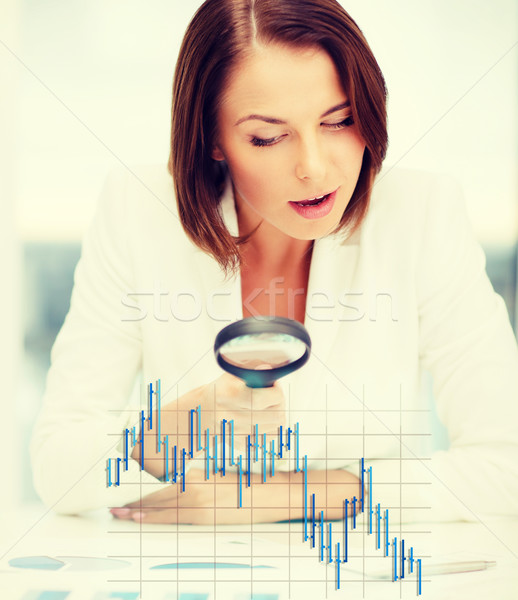 businesswoman working with graphs in office Stock photo © dolgachov