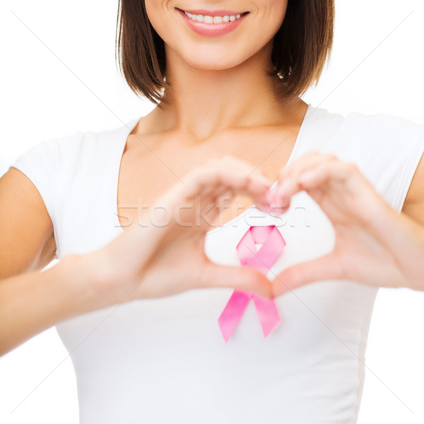 Stock photo: woman with pink cancer ribbon