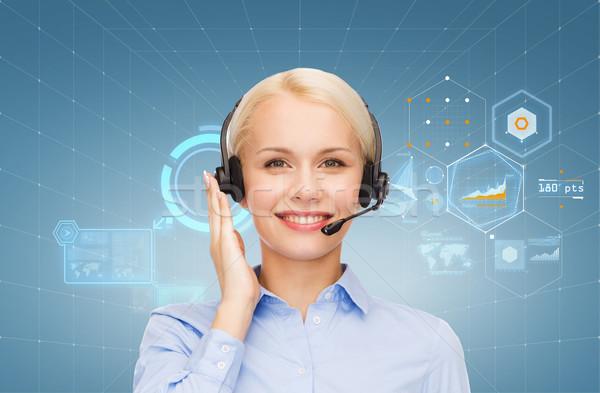 дружественный женщины телефон доверия оператор бизнеса технологий Сток-фото © dolgachov
