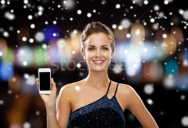Sorrindo vestido de noite tecnologia natal férias Foto stock © dolgachov