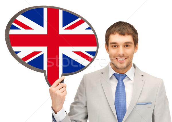 Mosolyog férfi szöveg buborék brit zászló oktatás Stock fotó © dolgachov