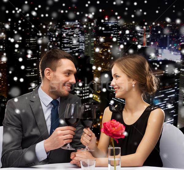 Stock fotó: Mosolyog · pár · étterem · ünneplés · karácsony · ünnepek
