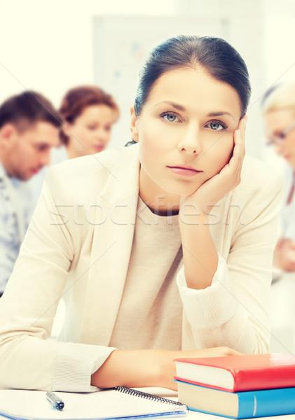 Hangsúlyos üzletasszony iroda üzlet oktatás tanár Stock fotó © dolgachov