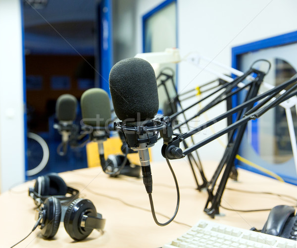 microphone at recording studio or radio station Stock photo © dolgachov