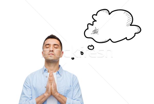 Hombre rezando dios vacío texto burbuja Foto stock © dolgachov