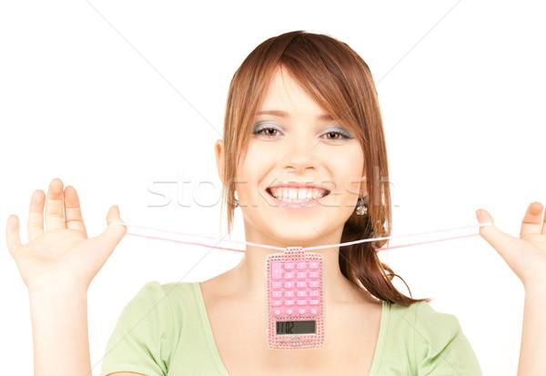 Stock fotó: Tinilány · számológép · fehér · nő · arc · tini