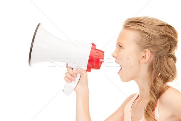girl with megaphone Stock photo © dolgachov