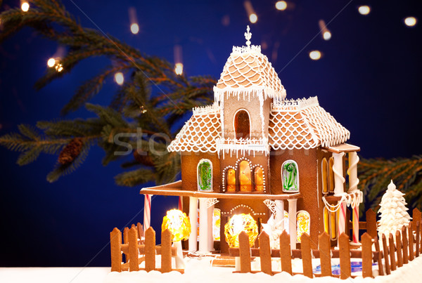 gingerbread house over christmas background Stock photo © dolgachov