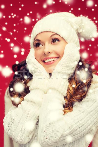 Stok fotoğraf: Kadın · şapka · eşarp · eldiveni · kış · insanlar