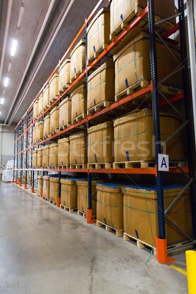 cargo boxes storing at warehouse shelves Stock photo © dolgachov