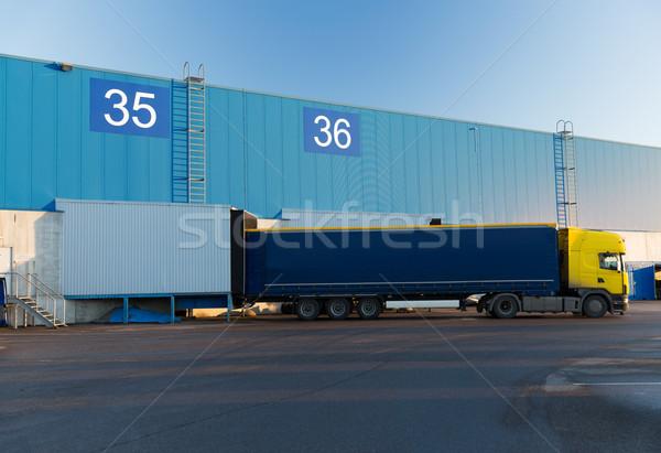 Stockfoto: Magazijn · vrachtwagen · opslag · vervoer · industriële