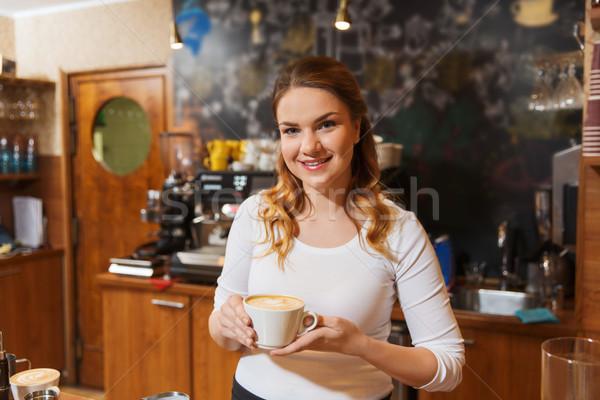 Gelukkig barista vrouw coffeeshop bezetting beroep Stockfoto © dolgachov