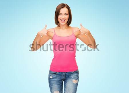 Plus size vrouw ondergoed tonen gebaar Stockfoto © dolgachov