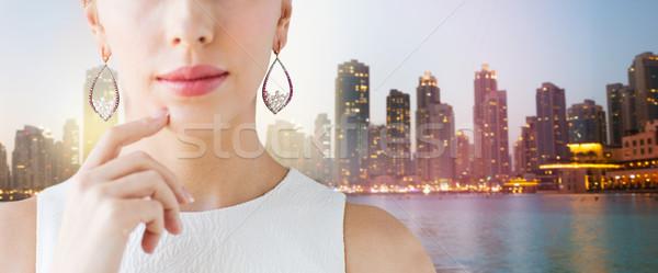 Bela mulher cara brincos glamour beleza Foto stock © dolgachov