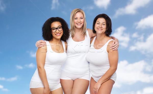 группа счастливым Плюс размер женщины белый белье Сток-фото © dolgachov