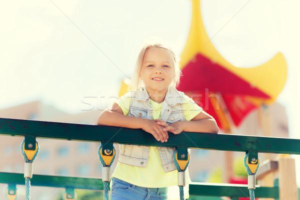 счастливым девочку скалолазания детей площадка лет Сток-фото © dolgachov