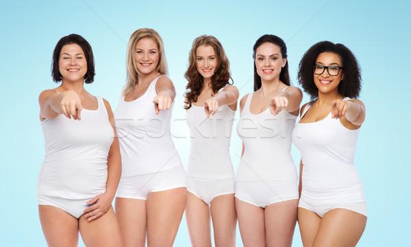 ストックフォト: グループ · 幸せ · 異なる · 女性 · ポインティング · 選択
