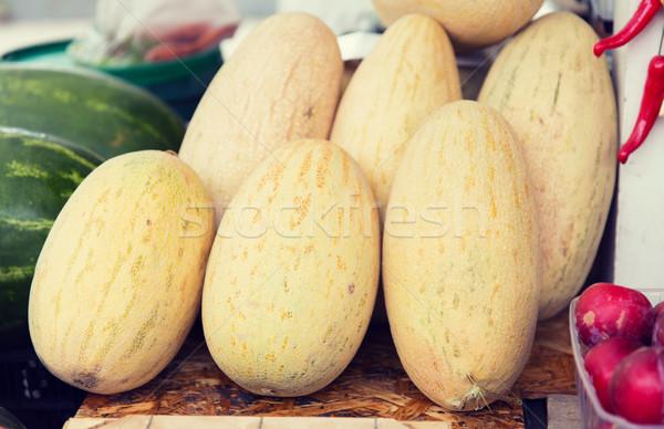 close up of melon at street farmers market Stock photo © dolgachov