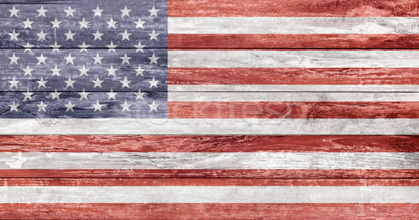 american flag painted on wooden texture Stock photo © dolgachov