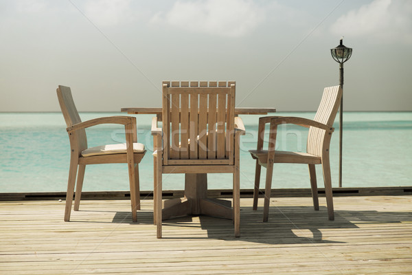 outdoor restaurant terrace with furniture over sea Stock photo © dolgachov