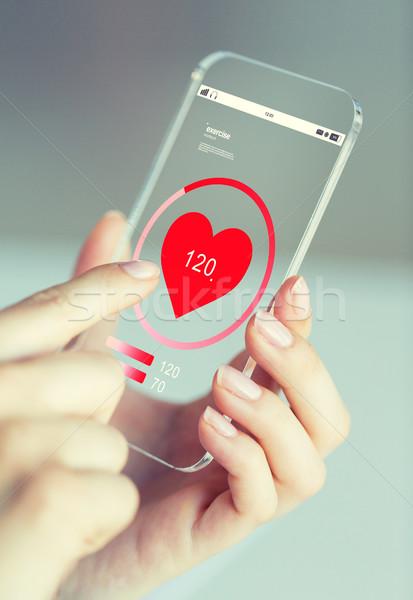 Hand hartslag smartphone business technologie Stockfoto © dolgachov